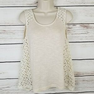 Umgee Crochet Lace Sides Flowy Top